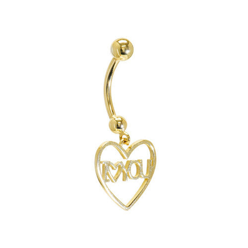Solid 14KT Yellow Gold I LOVE YOU HEART Belly Ring