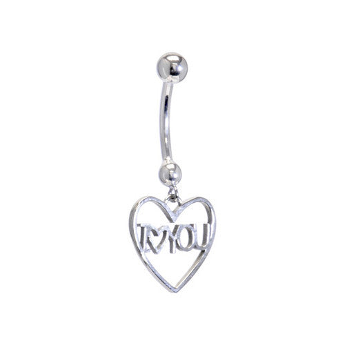 Solid 14KT White Gold I LOVE YOU HEART Belly Ring