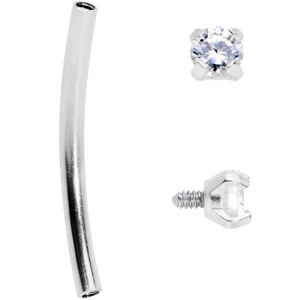 16 Gauge 9/16 Clear CZ Gem End Curved Barbell
