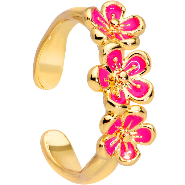 Gold Tone Powerfully Pink Flower Trio Toe Ring