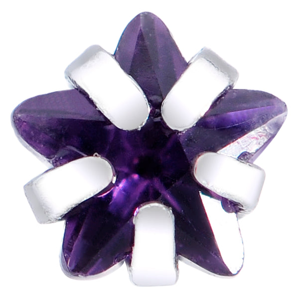 20 Gauge 5/16 Purple CZ Gem Star Nose Bone 3mm