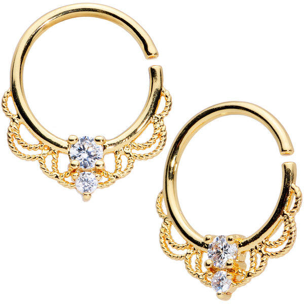 14 Gauge 9/16 Clear CZ Gem Gold Tone Lacy Love Nipple Ring Set