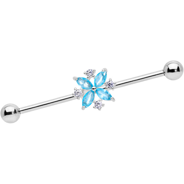 14 Gauge Aqua CZ Gem Star Burst Industrial Barbell 38mm