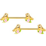 14 Gauge 9/16 Gold Tone Bird Pink Flower Barbell Nipple Ring Set