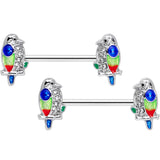 14 Gauge 9/16 Clear Gem Tropical Parrot Bird Barbell Nipple Ring Set