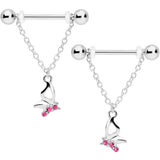 14 Gauge 5/8 Pink Gem Butterfly Dangle Nipple Ring Set