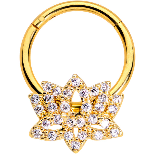 16 Gauge 3/8 Clear CZ Gem Gold Tone Lotus Flower Hinged Segment Ring