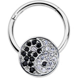 16 Gauge 3/8 Clear Black CZ Gem Yin Yang Hinged Segment Ring