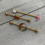 14 Gauge Clear Gem Gold Hue Flower Flamingo Industrial Barbell 38mm