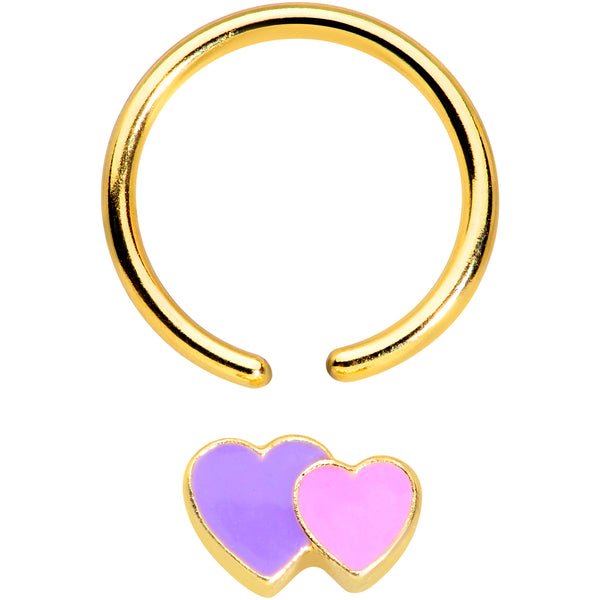 16 Gauge 3/8 Gold Tone Purple Hearts BCR Captive Ring