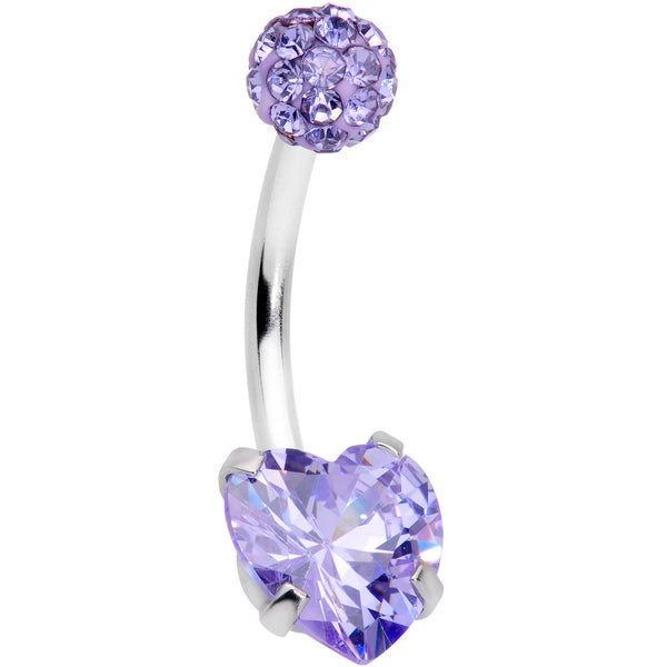 Purple CZ Gem Disco Ball Heart Belly Ring