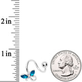 Aqua Aurora Gem Loop Butterfly Spiral Twister Belly Ring