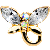 16 Gauge 1/4 Clear Gem Gold Tone Loop Butterfly Cartilage Tragus
