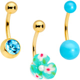 Aqua Gem Gold Tone Flower Pearly Belly Ring Set of 3