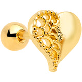 16 Gauge 1/4 Clear Gem Gold Tone Angel Wing Heart Cartilage Tragus