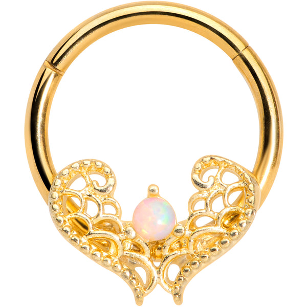 16 Gauge 3/8 White Synth Opal Gold Tone Lace Heart Hinged Segment Ring