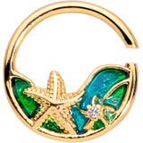 18 Gauge 3/8 Clear Gem Gold Tone Starfish Nautical Closure Ring