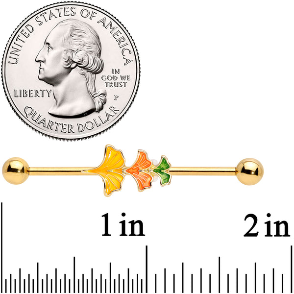 14 Gauge Gold Tone Autumn Leaves Fall Industrial Barbell 38mm