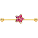 14 Gauge Clear Purple Gem Gold Tone Flower Industrial Barbell 38mm