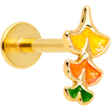 16 Gauge 5/16 Gold Tone Autumn Leaves Fall Labret Monroe Tragus