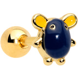 16 Gauge 1/4 Gold Tone Black Mouse Cartilage Tragus Earring