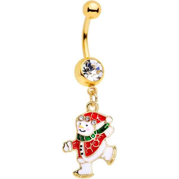 Clear Gem Gold Tone Ice Skating Snowman Christmas Dangle Belly Ring