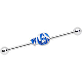 14 Gauge Blue White Mummy Halloween Industrial Barbell 38mm
