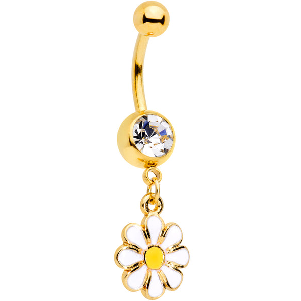Clear Gem Gold Tone Happy Hippie Daisy Flower Dangle Belly Ring