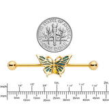 14 Gauge Gold Tone Green Inlay Butterfly Industrial Barbell 38mm