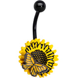 Black Sunflower Butterfly Belly Ring