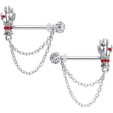 14 Gauge 9/16 Red Gem Skeleton Hands Halloween Dangle Nipple Ring Set