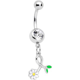 Clear Gem Daisy Curl Flower Dangle Belly Ring