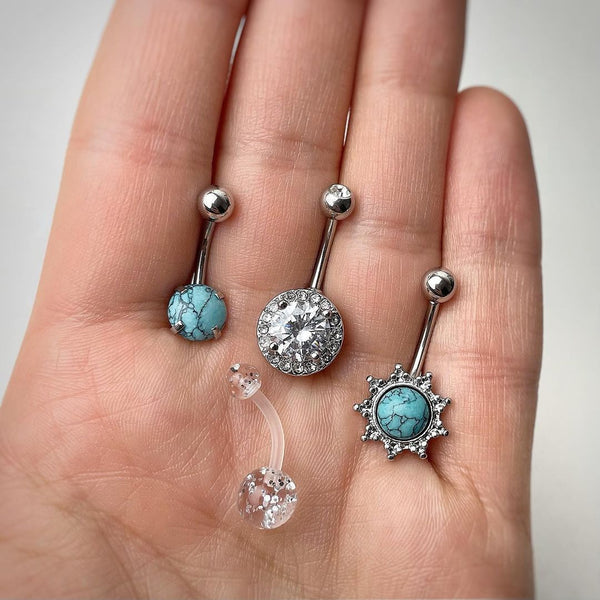 Clear Gem Faux Turquoise UV Glow Belly Ring Set of 4