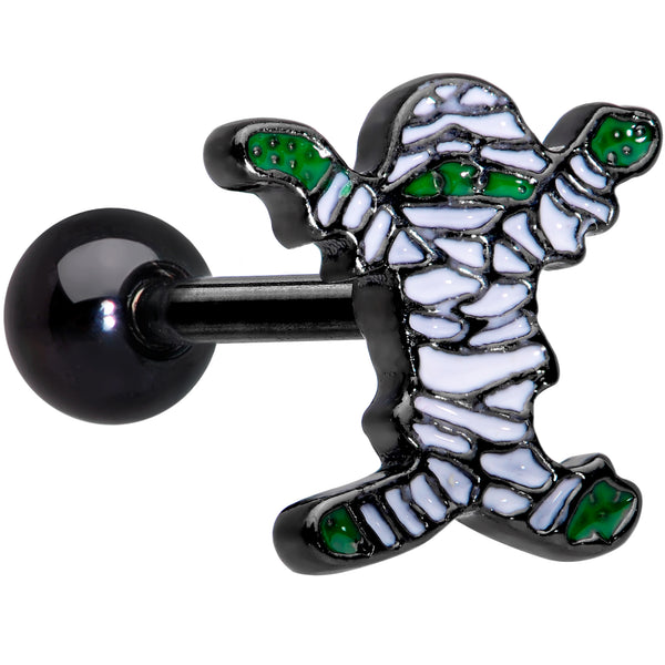 16 Gauge 1/4 Black Plated Green White Mummy Halloween Cartilage Tragus