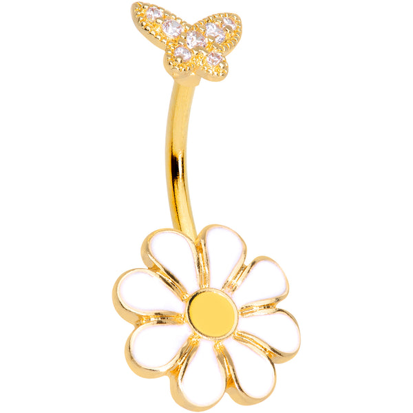 Clear Gem Gold Tone Butterfly Daisy Flower Belly Ring