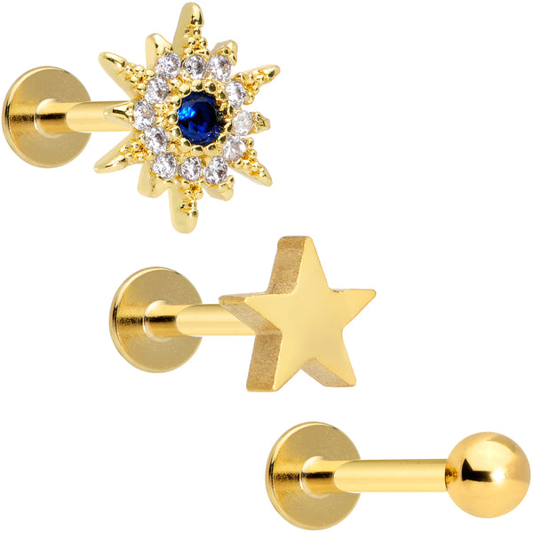 16 Gauge 5/16 Blue Clear Gem Gold Tone Star Labret Tragus Set of 3