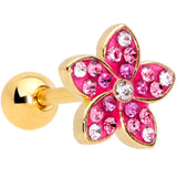 16 Gauge 1/4  Purple Gem Gold Tone Fabulous Flower Cartilage Tragus
