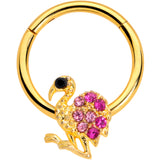 16 Gauge 3/8  Pink Gem Gold Tone Fashion Flamingo Hinged Segment Ring