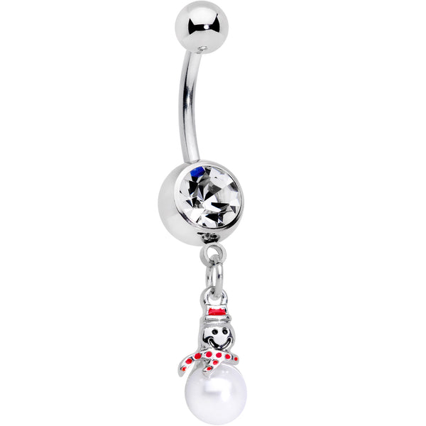 Clear Gem Pearlescent Snowman Christmas Dangle Belly Ring