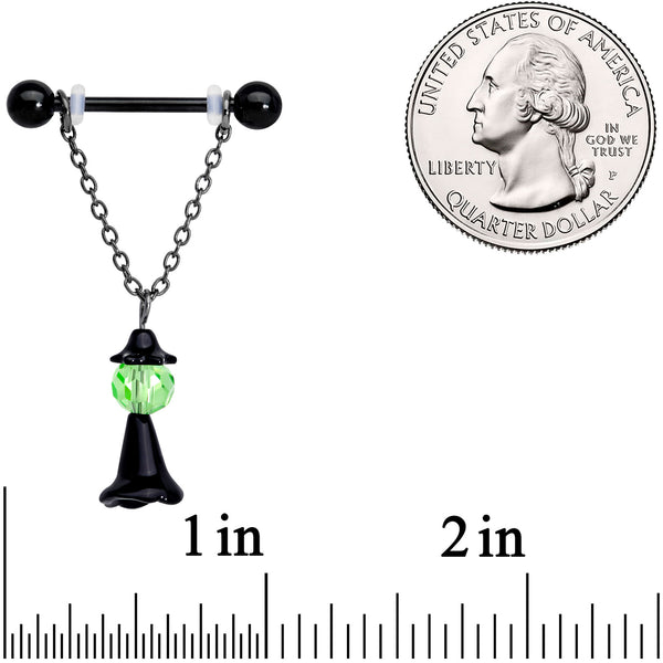 14 Gauge 11/16 Green Gem Black Witch Halloween Dangle Nipple Ring Set