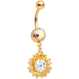 Aurora Gem Gold Tone Scintillating Sunflower Dangle Belly Ring