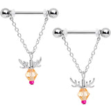 14 Gauge 11/16 Tan Red Gem Reindeer Christmas Dangle Nipple Ring Set