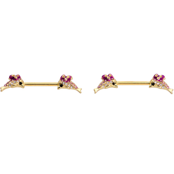 14 Gauge 9/16 Clear Purple Gem Gold Hue Dainty Dolphin Nipple Ring Set