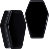 Black Obsidian Coffin Halloween Double Flare Plug Set