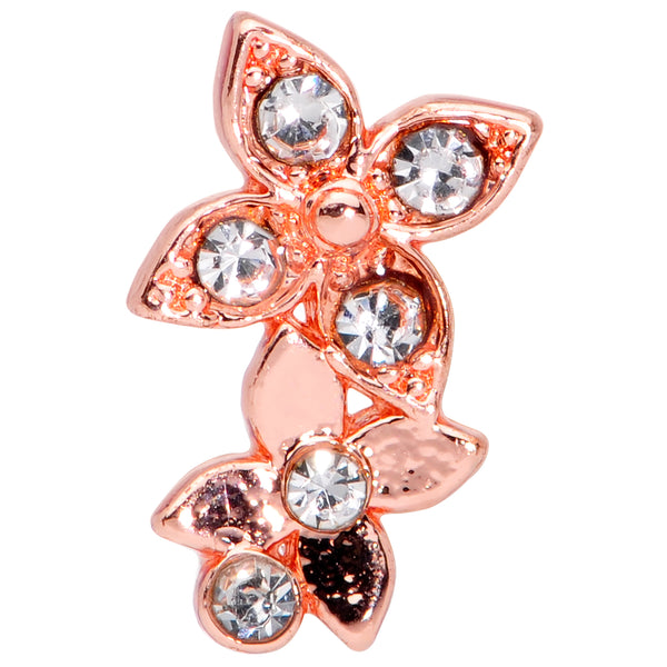 20 Gauge 1/4 Clear Gem Rose Gold Hue Butterfly Flower Right Nose Screw