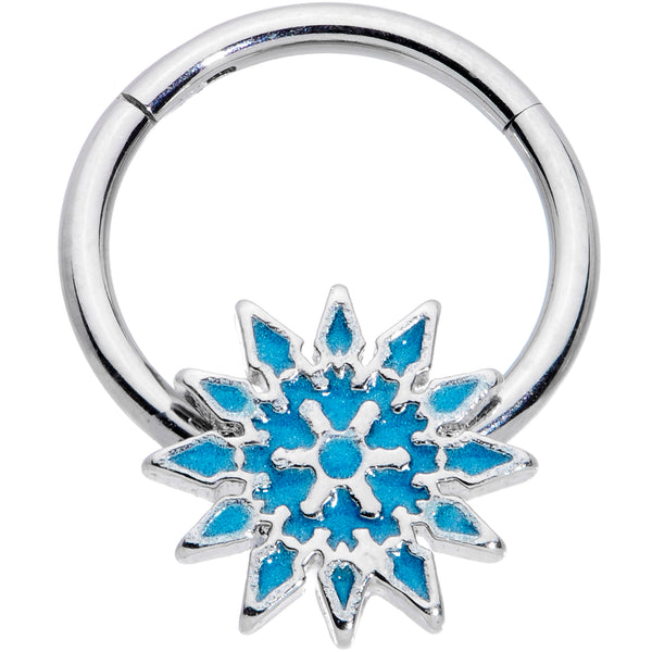 16 Gauge 3/8 Blue Winter Snowflake Christmas Hinged Segment Ring