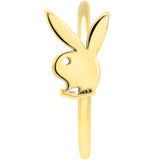 20 Gauge 5/16 Gold Tone Licensed Playboy Bunny Nose Hoop