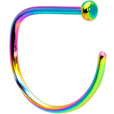 20 Gauge 3/8 Rainbow Implant Grade Titanium D Shape Nose Hoop
