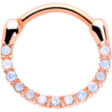 16 Gauge 3/8 Aurora Gem Rose Gold Tone Paved Cartilage Clicker