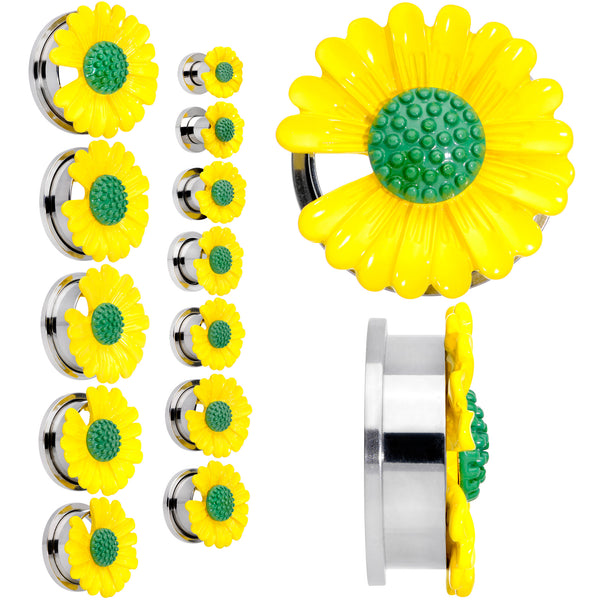 Yellow Daisy Flower Screw Fit Plug Set